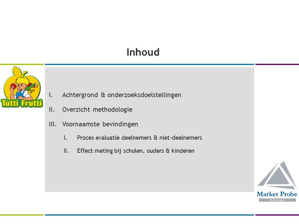 Inhoud I.Achtergrond & onderzoeksdoelstellingen II.Overzicht methodologie III.Voornaamste bevindingen I.Proces evaluatie deelnemers & niet-deelnemers II.Effect meting bij scholen, ouders & kinderen