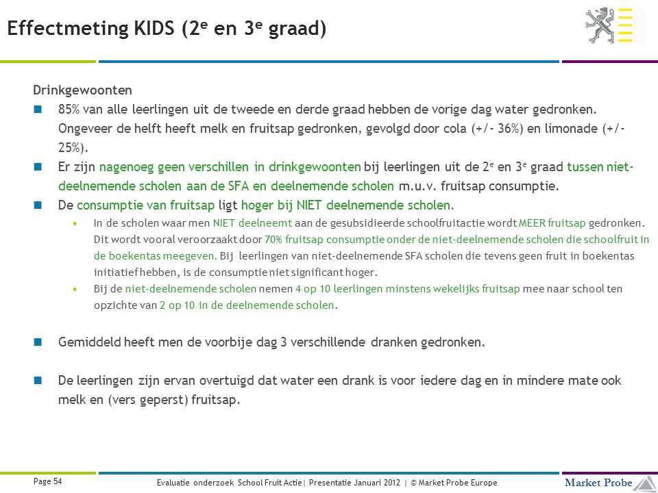 Title | Date | © Market Probe Page 54 Market Probe Evaluatie onderzoek School Fruit Actie| Presentatie Januari 2012 | © Market Probe Europe Effectmeti