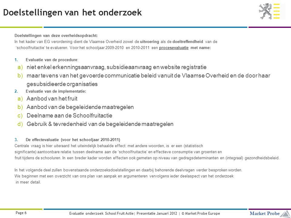 Title | Date | © Market Probe Page 47 Market Probe Evaluatie onderzoek School Fruit Actie| Presentatie Januari 2012 | © Market Probe Europe Samengevat: zijn de doelstellingen bereikt.