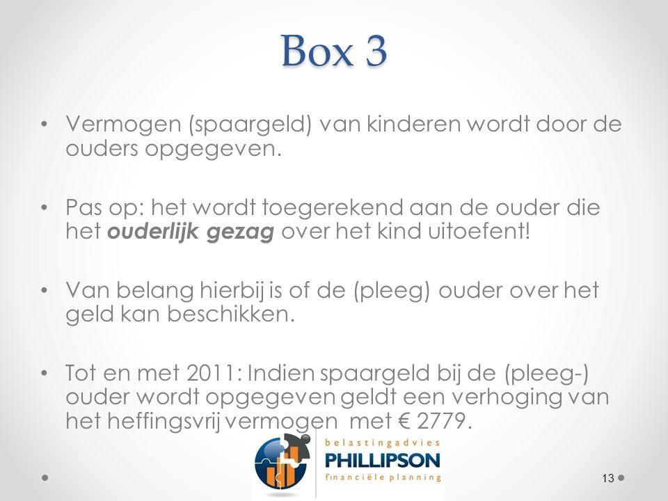 Box 3 Vermogen (spaargeld) van kinderen wordt door de ouders opgegeven.