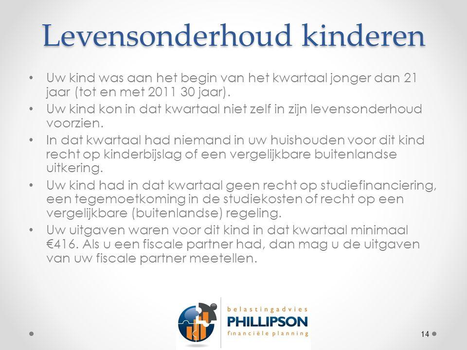 Levensonderhoud kinderen Uw kind was aan het begin van het kwartaal jonger dan 21 jaar (tot en met 2011 30 jaar).