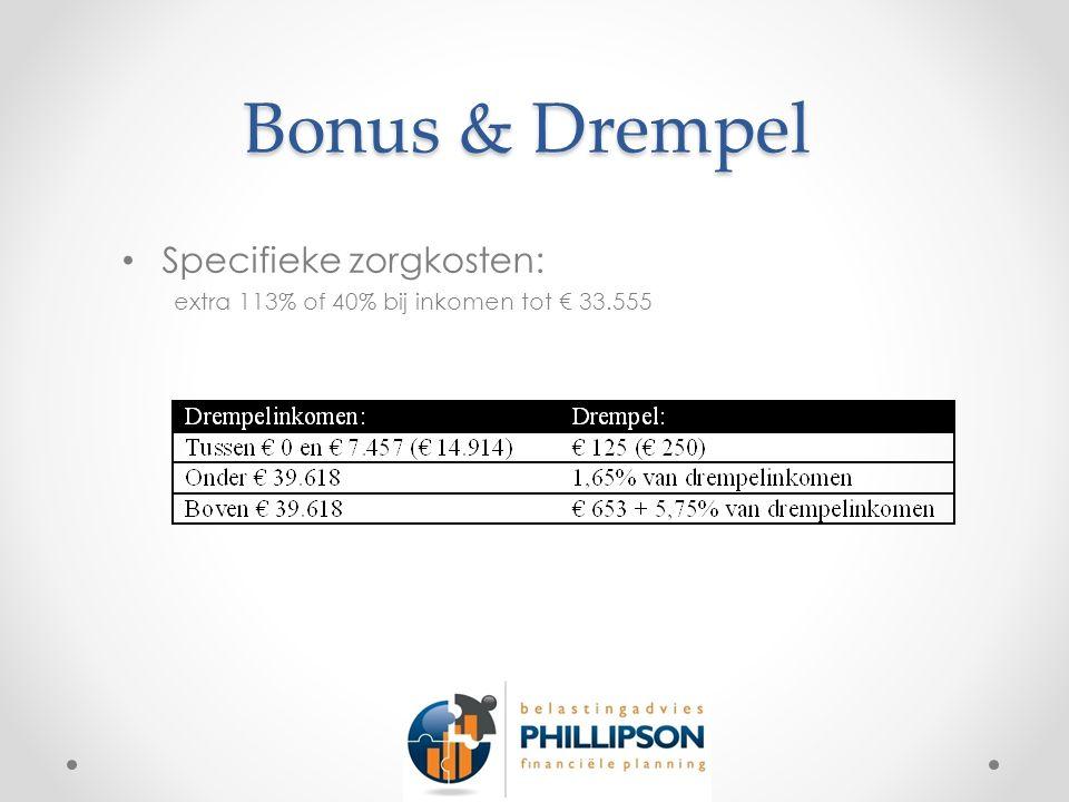 Bonus & Drempel Specifieke zorgkosten: extra 113% of 40% bij inkomen tot € 33.555