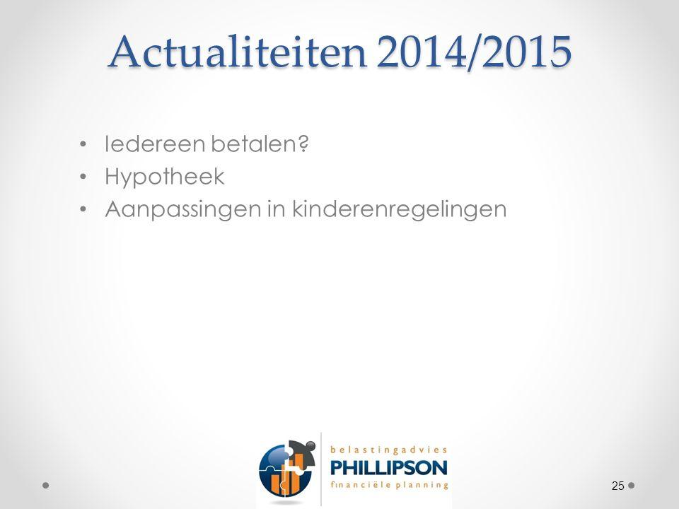 Actualiteiten 2014/2015 Iedereen betalen Hypotheek Aanpassingen in kinderenregelingen 25
