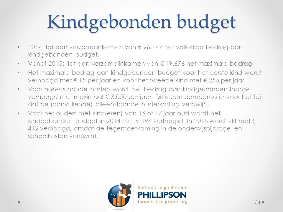 Kindgebonden budget 2014: tot een verzamelinkomen van € 26.147 het volledige bedrag aan kindgebonden budget.