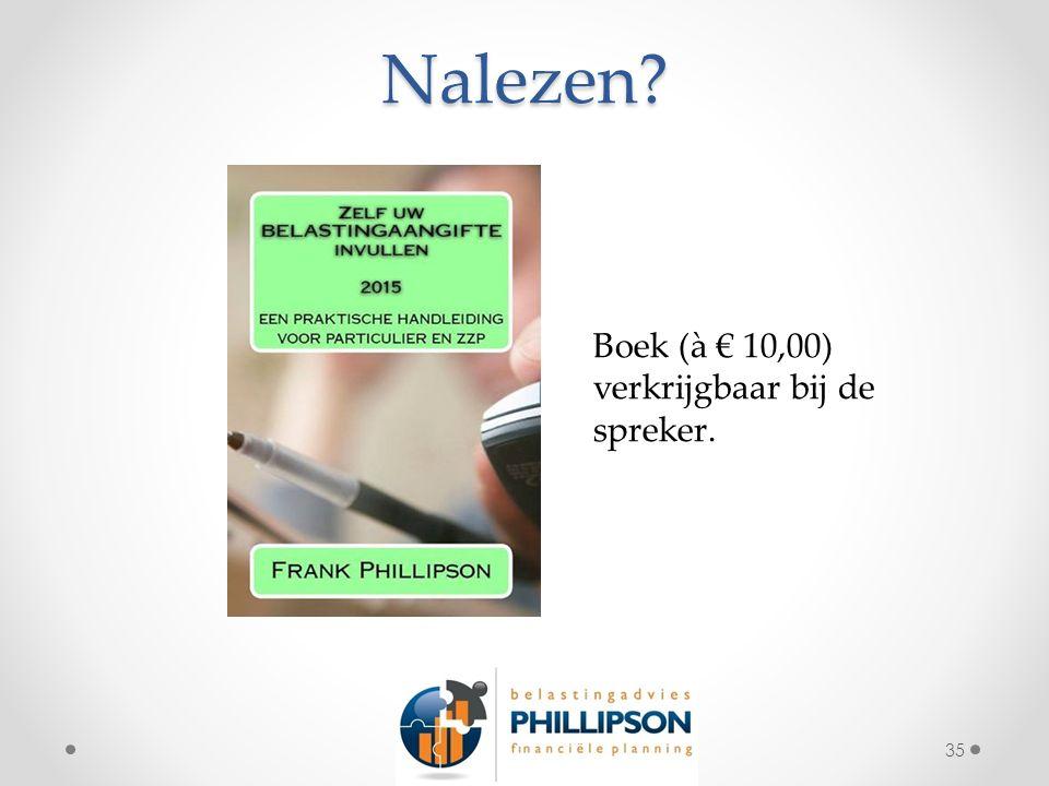 Nalezen? 35 Boek (à € 10,00) verkrijgbaar bij de spreker.