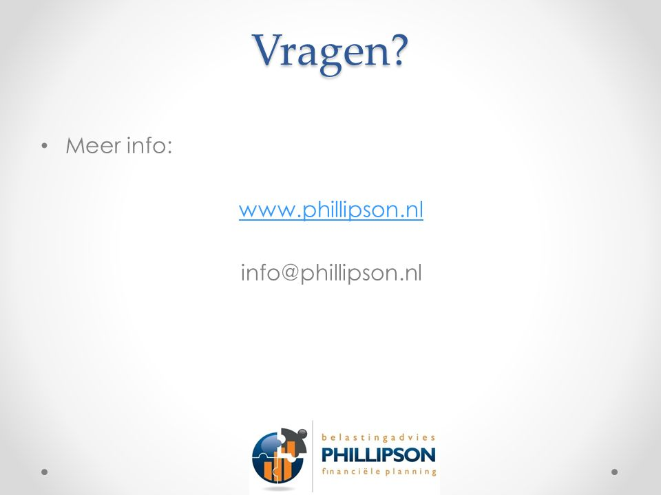 Vragen? Meer info: www.phillipson.nl info@phillipson.nl