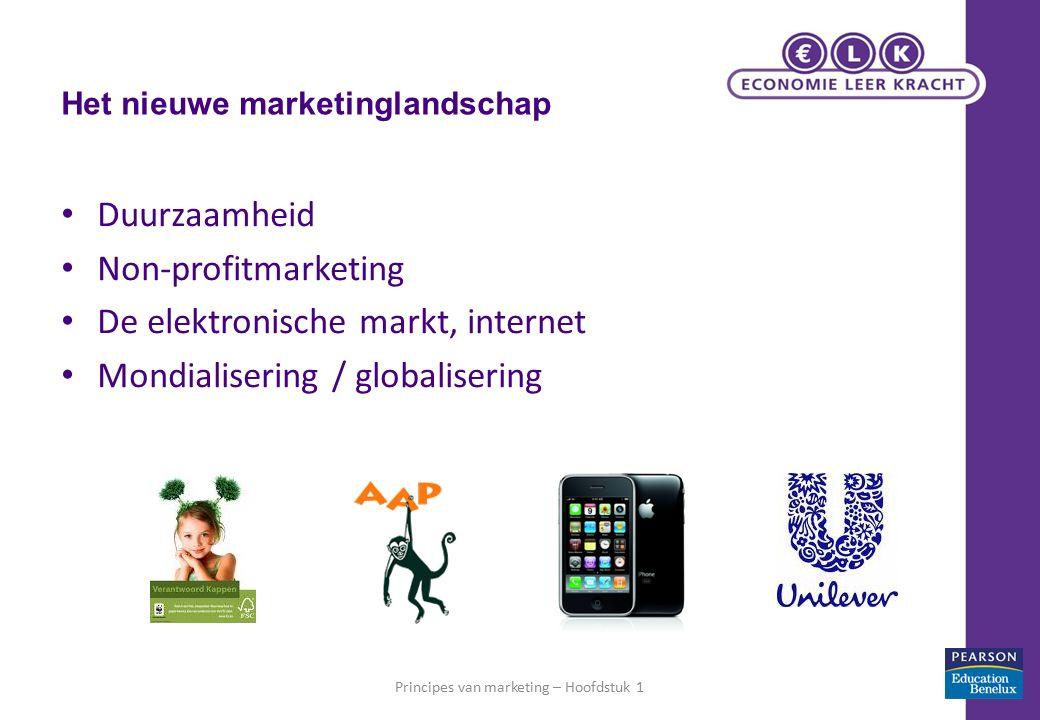 Het nieuwe marketinglandschap Duurzaamheid Non-profitmarketing De elektronische markt, internet Mondialisering / globalisering Principes van marketing – Hoofdstuk 119