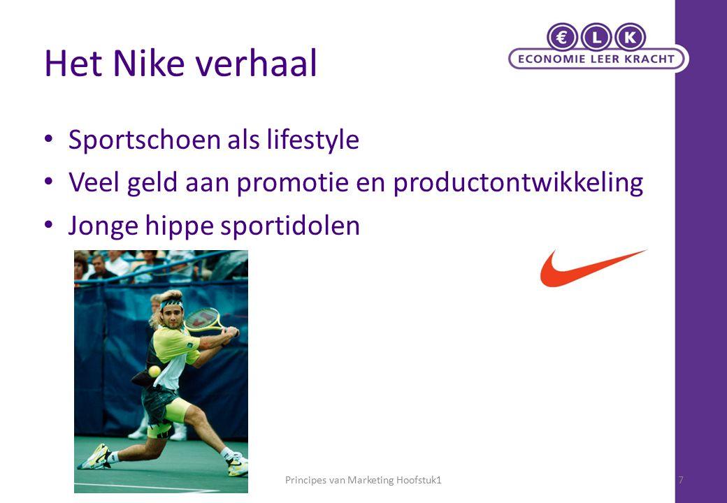 Het Nike verhaal Sportschoen als lifestyle Veel geld aan promotie en productontwikkeling Jonge hippe sportidolen Principes van Marketing Hoofstuk17