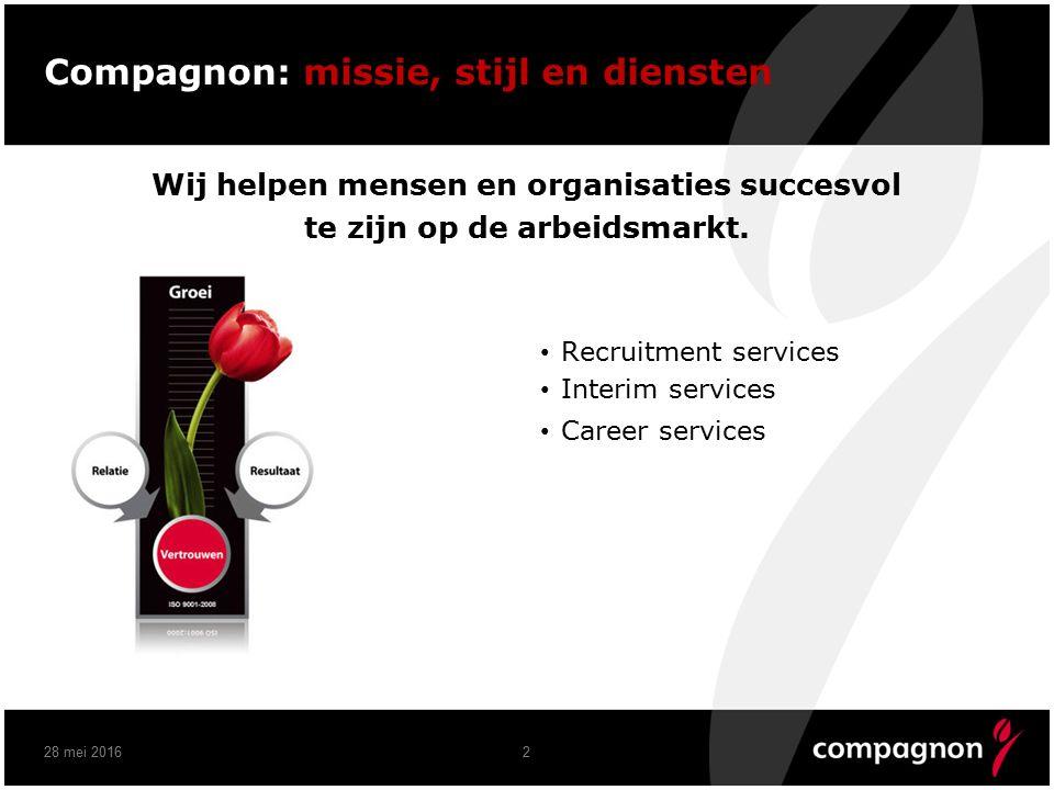 Compagnon: missie, stijl en diensten Wij helpen mensen en organisaties succesvol te zijn op de arbeidsmarkt.