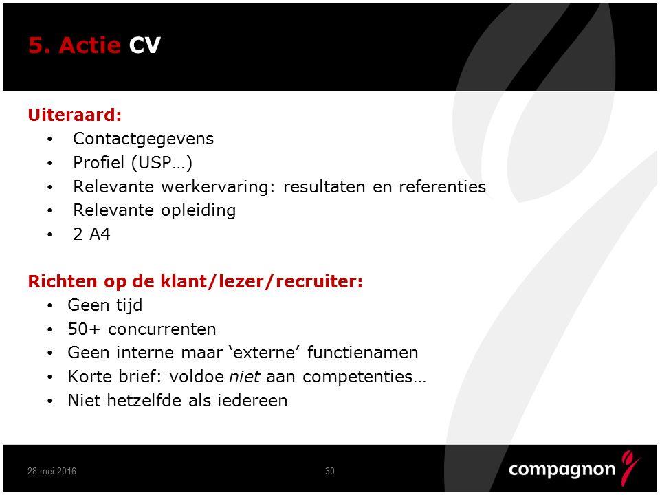 5. Actie CV Uiteraard: Contactgegevens Profiel (USP…) Relevante werkervaring: resultaten en referenties Relevante opleiding 2 A4 Richten op de klant/l