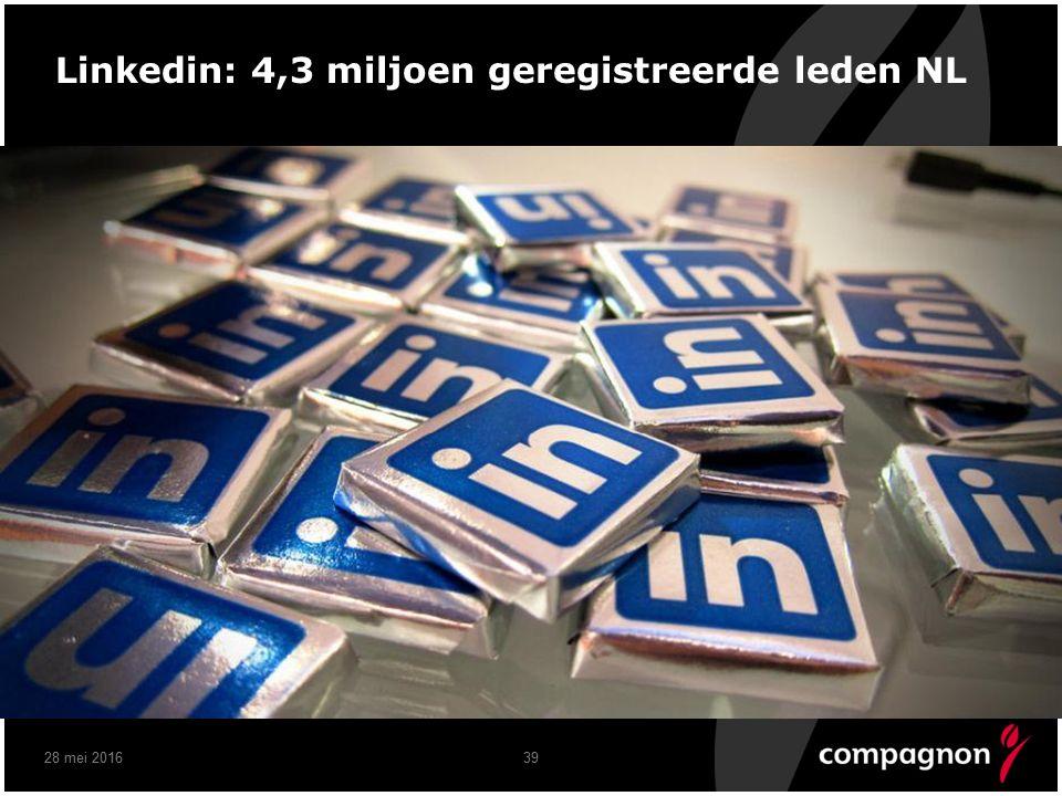 3928 mei 2016 Linkedin: 4,3 miljoen geregistreerde leden NL