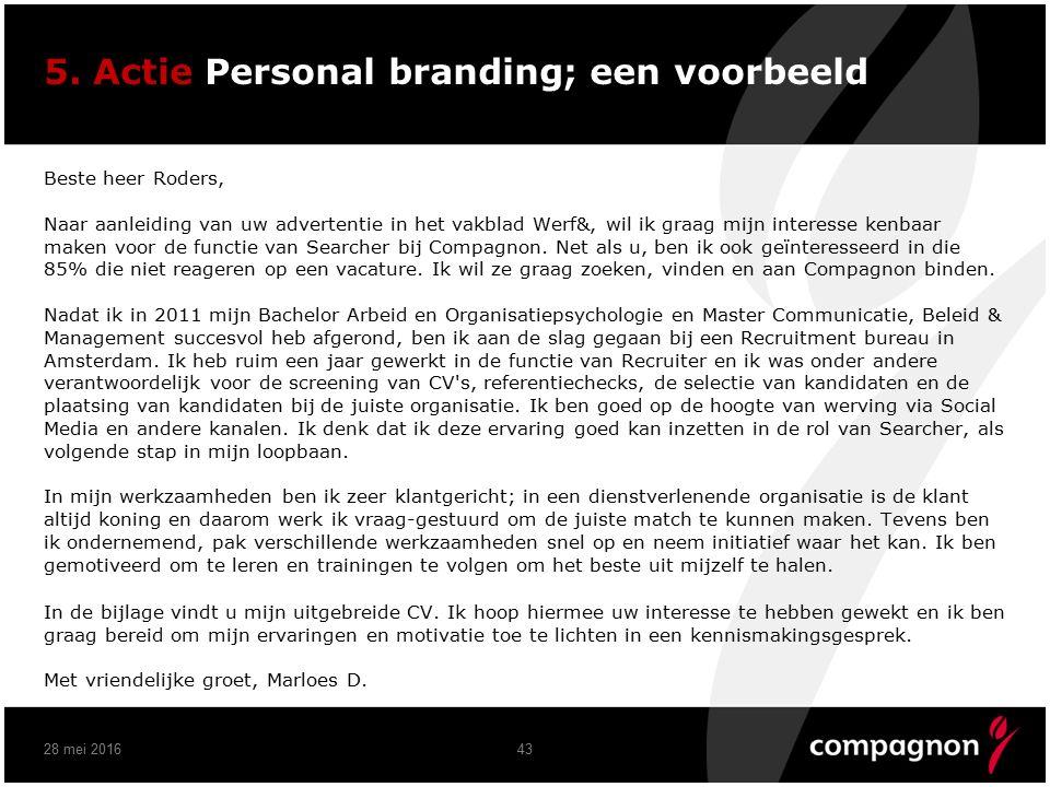5. Actie Personal branding; een voorbeeld Beste heer Roders, Naar aanleiding van uw advertentie in het vakblad Werf&, wil ik graag mijn interesse kenb