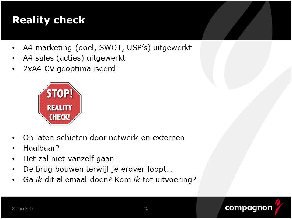 Reality check A4 marketing (doel, SWOT, USP's) uitgewerkt A4 sales (acties) uitgewerkt 2xA4 CV geoptimaliseerd Op laten schieten door netwerk en externen Haalbaar.