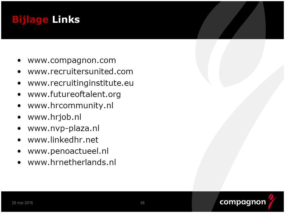 Bijlage Links www.compagnon.com www.recruitersunited.com www.recruitinginstitute.eu www.futureoftalent.org www.hrcommunity.nl www.hrjob.nl www.nvp-plaza.nl www.linkedhr.net www.penoactueel.nl www.hrnetherlands.nl 28 mei 201648
