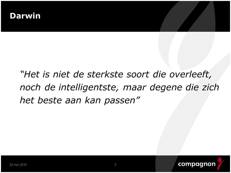 Darwin Het is niet de sterkste soort die overleeft, noch de intelligentste, maar degene die zich het beste aan kan passen 28 mei 20165