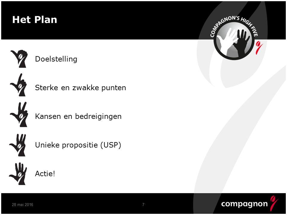 7 Het Plan Doelstelling Sterke en zwakke punten Kansen en bedreigingen Unieke propositie (USP) Actie!