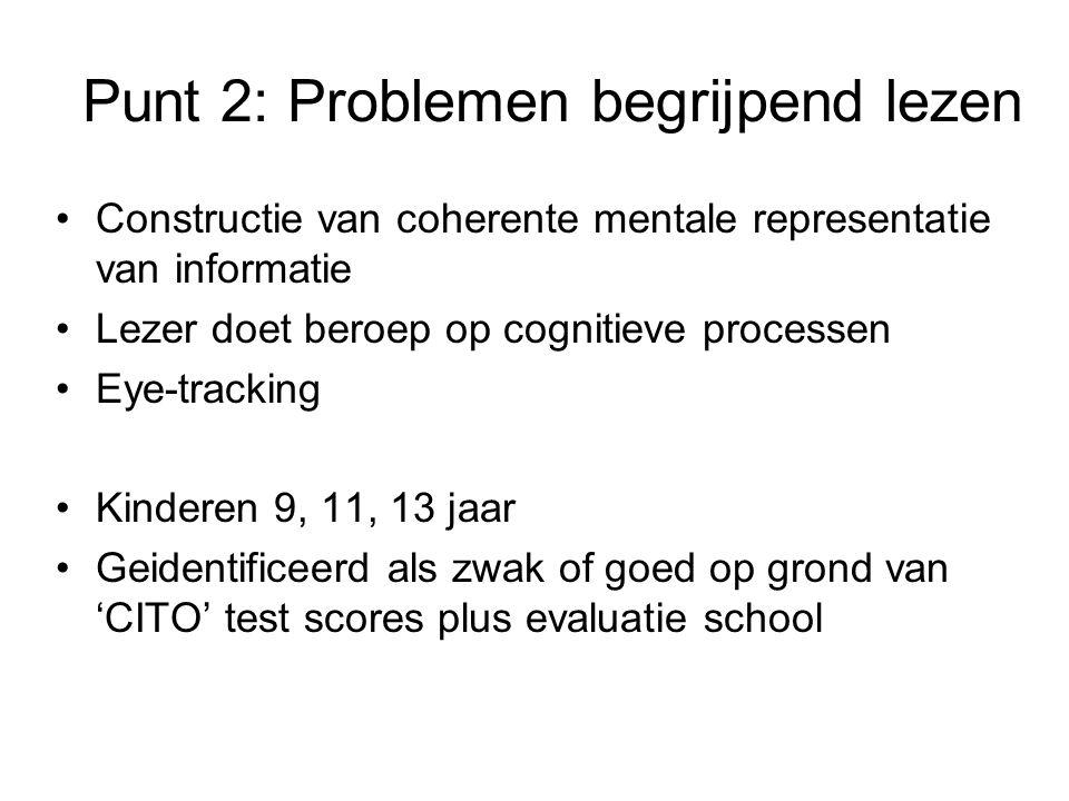 Punt 2: Problemen begrijpend lezen Constructie van coherente mentale representatie van informatie Lezer doet beroep op cognitieve processen Eye-tracking Kinderen 9, 11, 13 jaar Geidentificeerd als zwak of goed op grond van 'CITO' test scores plus evaluatie school