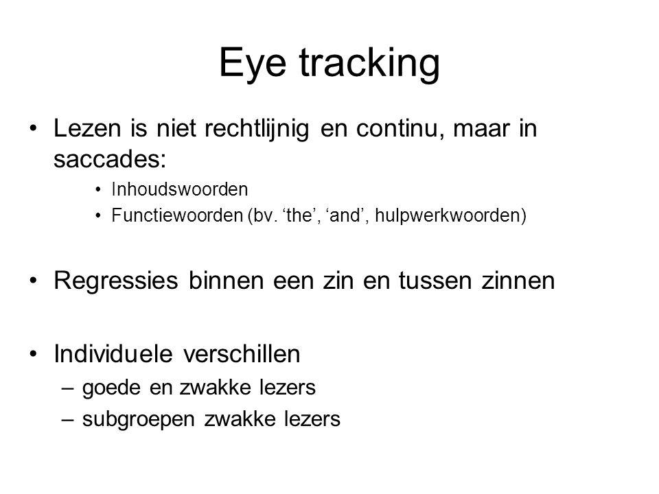 Eye tracking Lezen is niet rechtlijnig en continu, maar in saccades: Inhoudswoorden Functiewoorden (bv. 'the', 'and', hulpwerkwoorden) Regressies binn