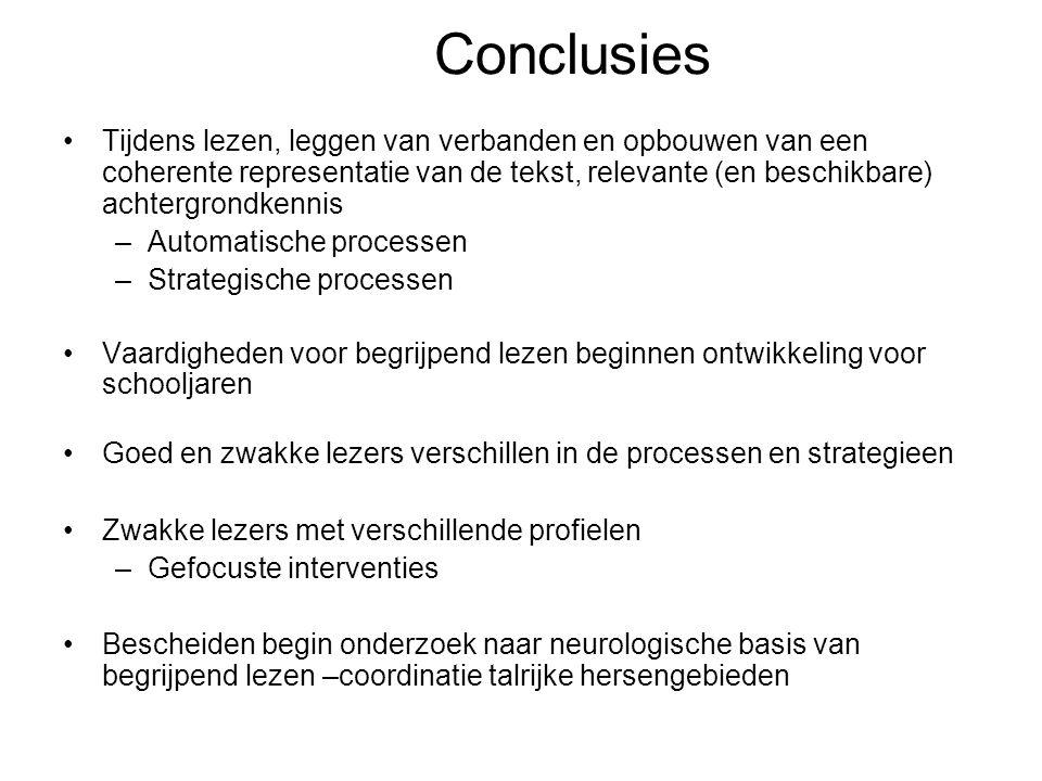 Conclusies Tijdens lezen, leggen van verbanden en opbouwen van een coherente representatie van de tekst, relevante (en beschikbare) achtergrondkennis