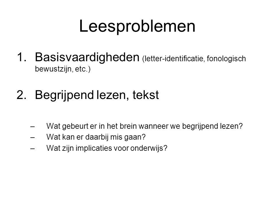 Leesproblemen 1.Basisvaardigheden (letter-identificatie, fonologisch bewustzijn, etc.) 2.Begrijpend lezen, tekst –Wat gebeurt er in het brein wanneer we begrijpend lezen.