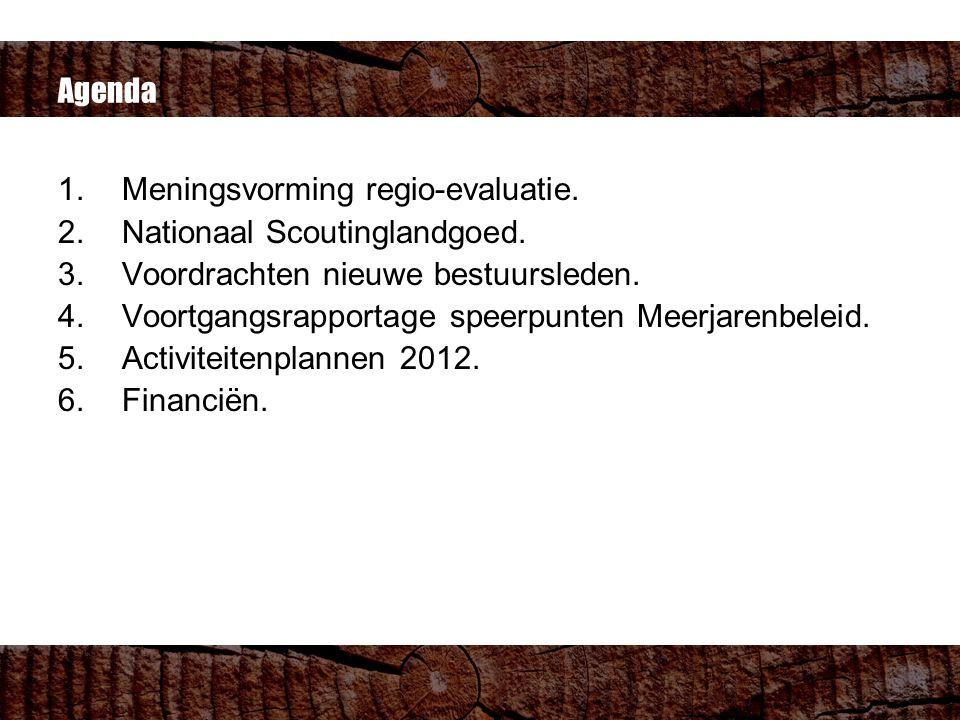 Agenda 1.Meningsvorming regio-evaluatie. 2.Nationaal Scoutinglandgoed.