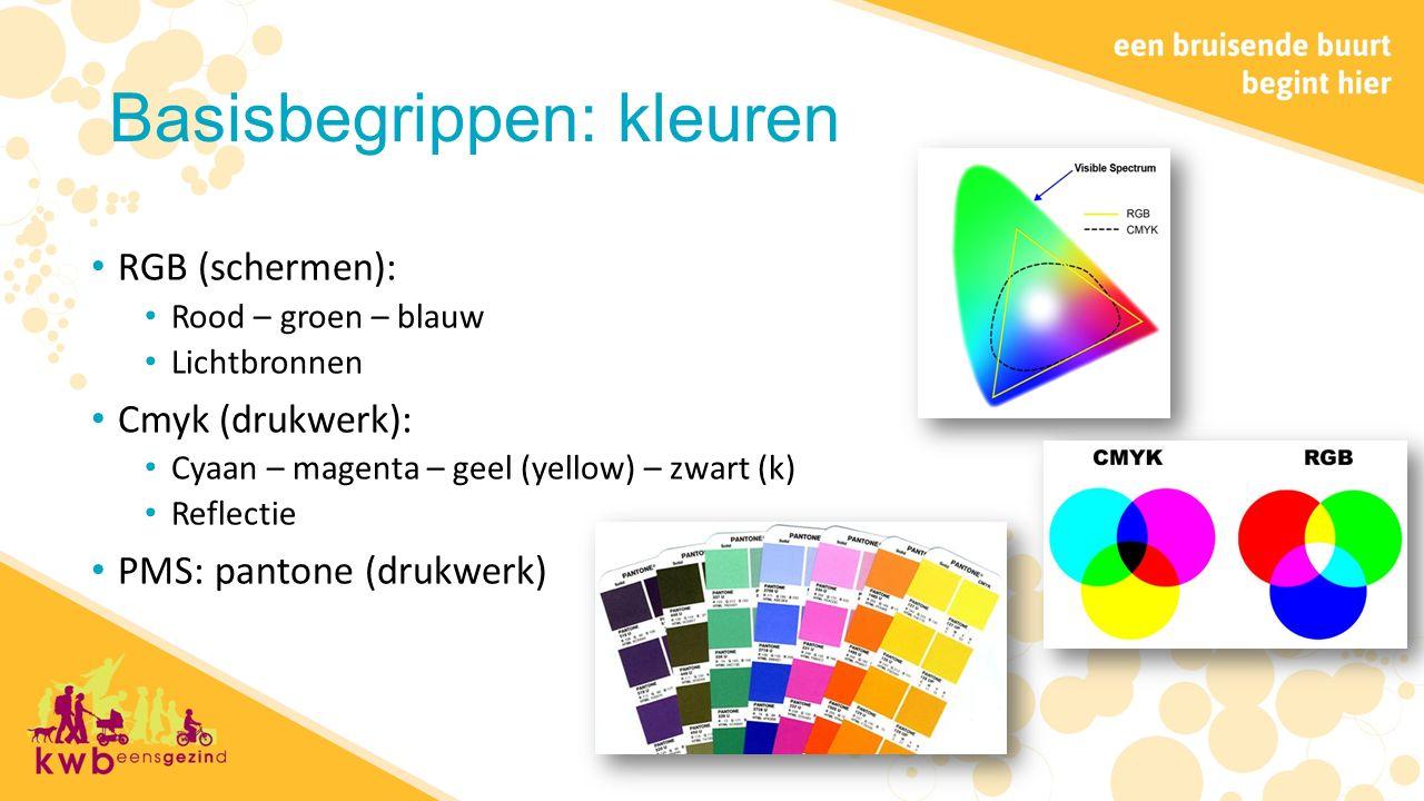Basisbegrippen: kleuren RGB (schermen): Rood – groen – blauw Lichtbronnen Cmyk (drukwerk): Cyaan – magenta – geel (yellow) – zwart (k) Reflectie PMS: pantone (drukwerk)