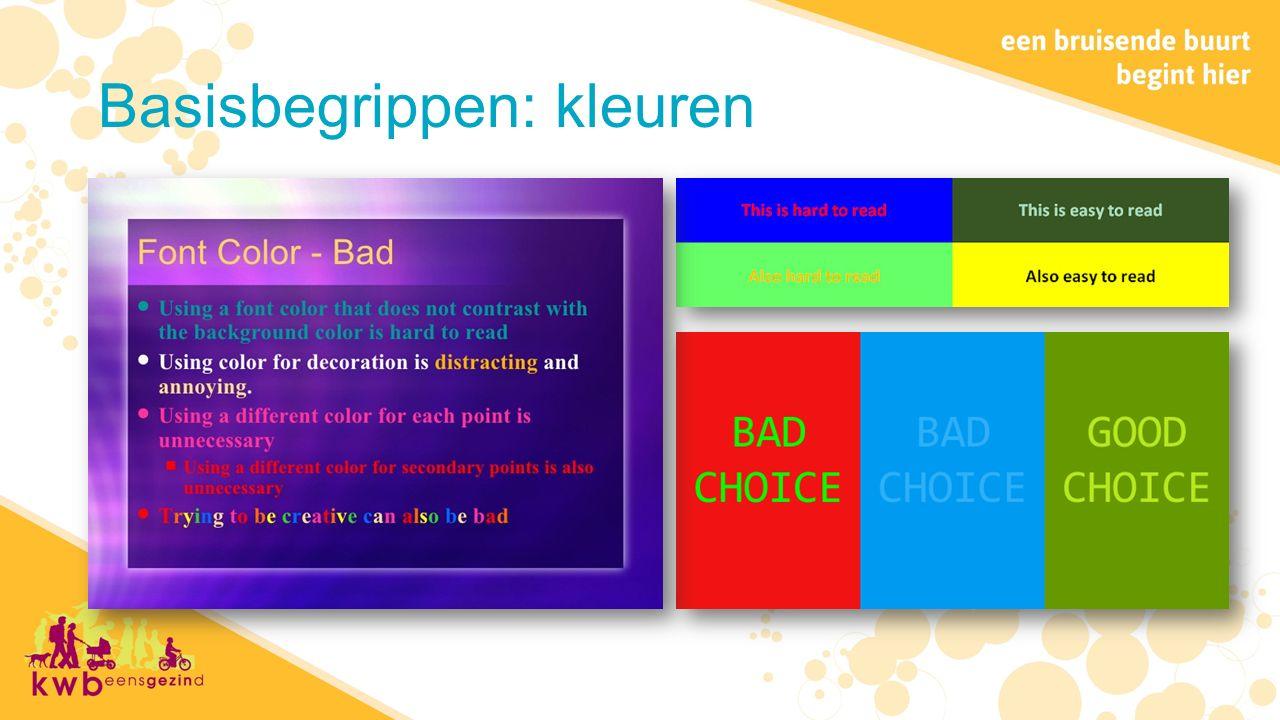 Basisbegrippen: kleuren