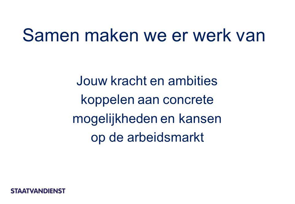 Jouw kracht en ambities koppelen aan concrete mogelijkheden en kansen op de arbeidsmarkt Samen maken we er werk van