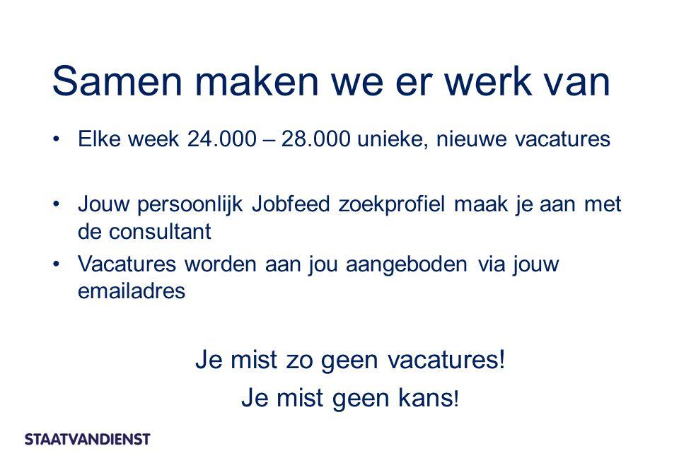 Elke week 24.000 – 28.000 unieke, nieuwe vacatures Jouw persoonlijk Jobfeed zoekprofiel maak je aan met de consultant Vacatures worden aan jou aangebo