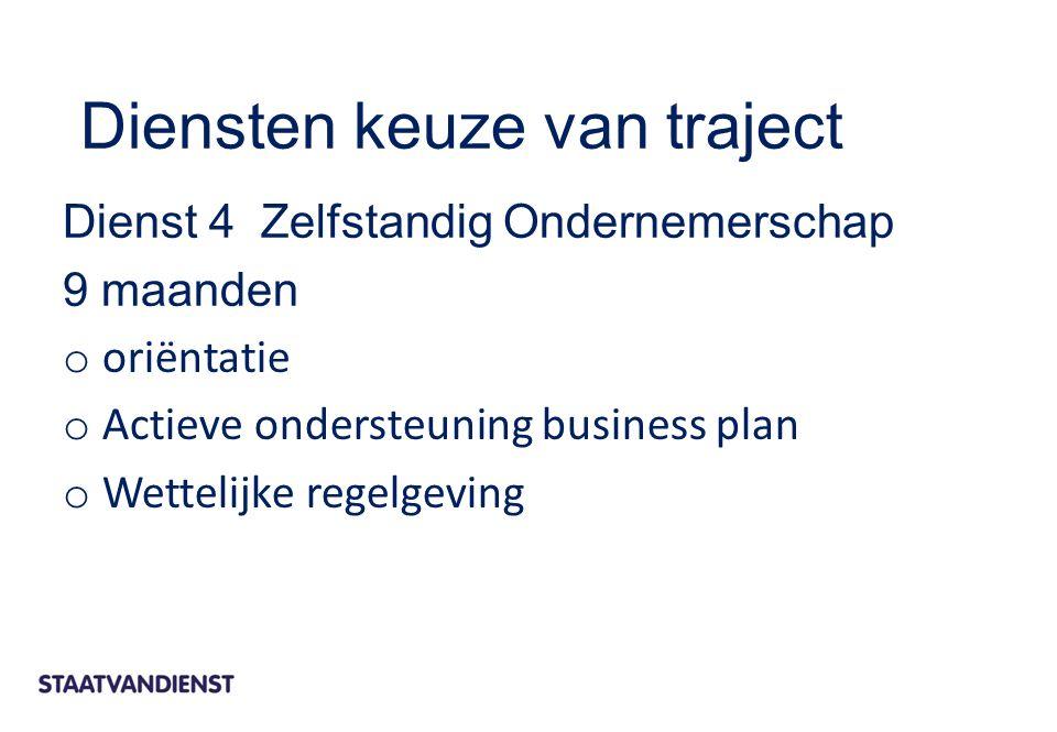 Dienst 4 Zelfstandig Ondernemerschap 9 maanden o oriëntatie o Actieve ondersteuning business plan o Wettelijke regelgeving Diensten keuze van traject