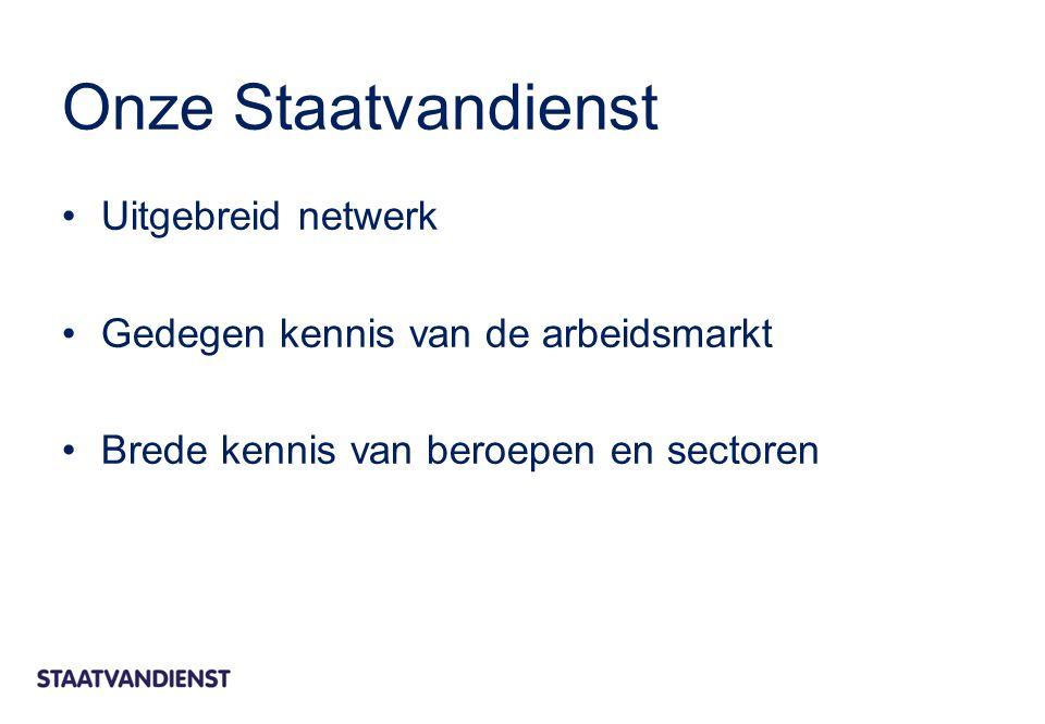 Onze Staatvandienst Uitgebreid netwerk Gedegen kennis van de arbeidsmarkt Brede kennis van beroepen en sectoren