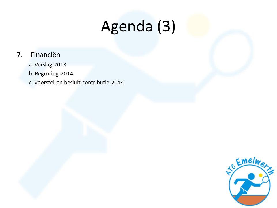 Agenda (3) 7.Financiën a. Verslag 2013 b. Begroting 2014 c. Voorstel en besluit contributie 2014
