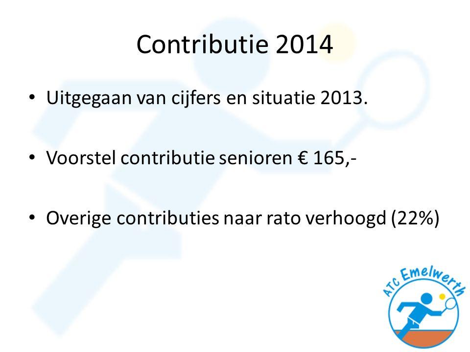 Contributie 2014 Uitgegaan van cijfers en situatie 2013.