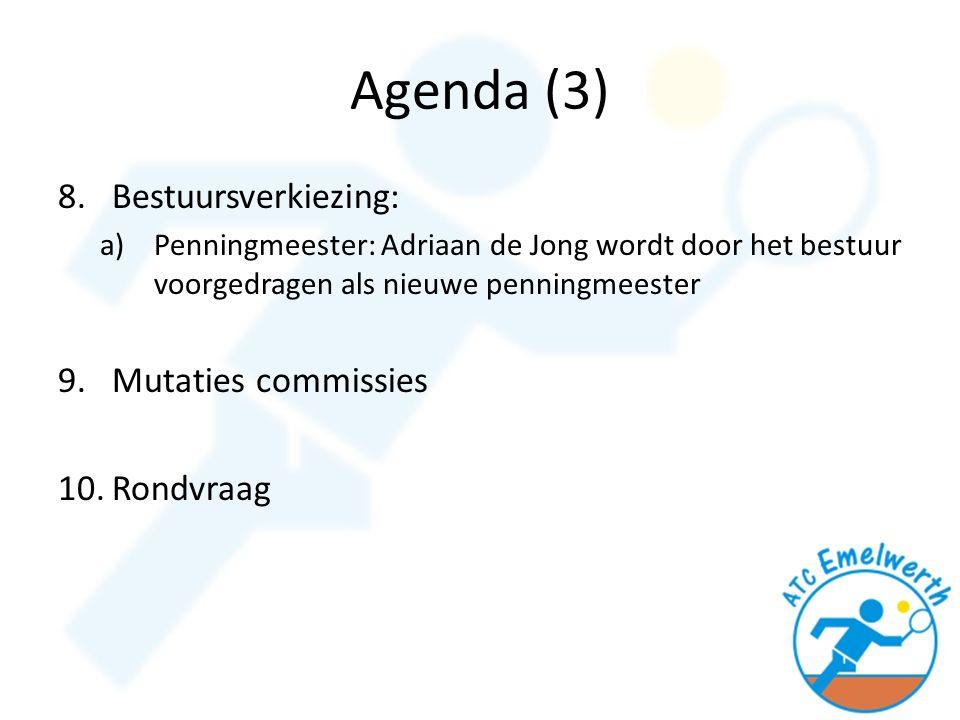Agenda (3) 8.Bestuursverkiezing: a)Penningmeester: Adriaan de Jong wordt door het bestuur voorgedragen als nieuwe penningmeester 9.Mutaties commissies 10.Rondvraag