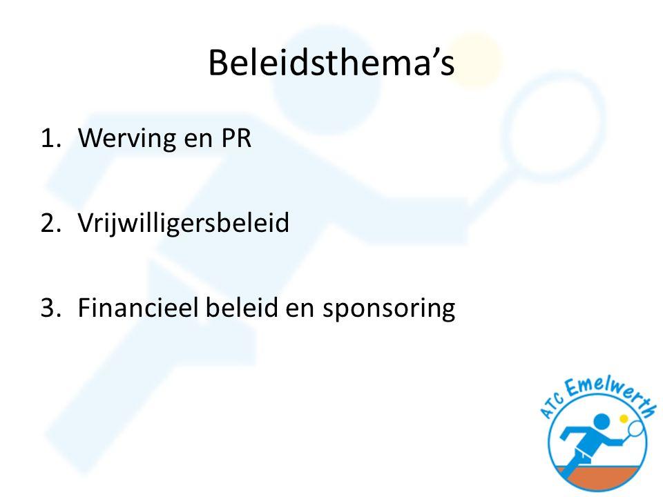 Beleidsthema's 1.Werving en PR 2.Vrijwilligersbeleid 3.Financieel beleid en sponsoring