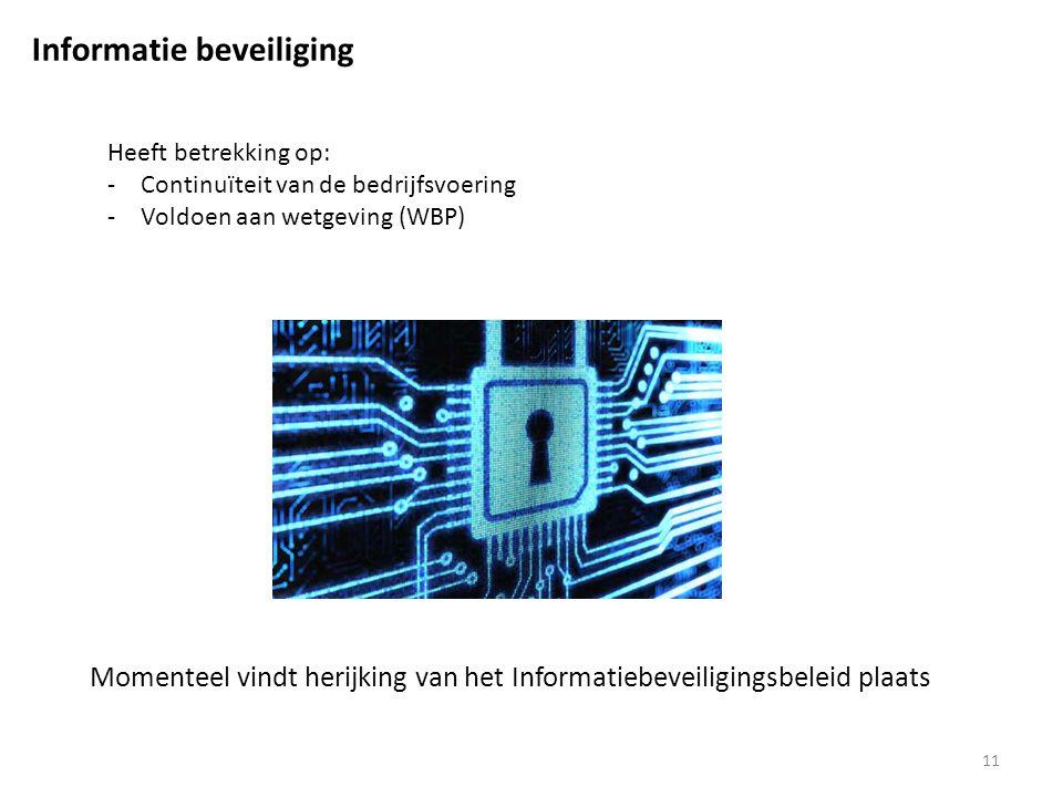 11 Informatie beveiliging Momenteel vindt herijking van het Informatiebeveiligingsbeleid plaats Heeft betrekking op: -Continuïteit van de bedrijfsvoering -Voldoen aan wetgeving (WBP)