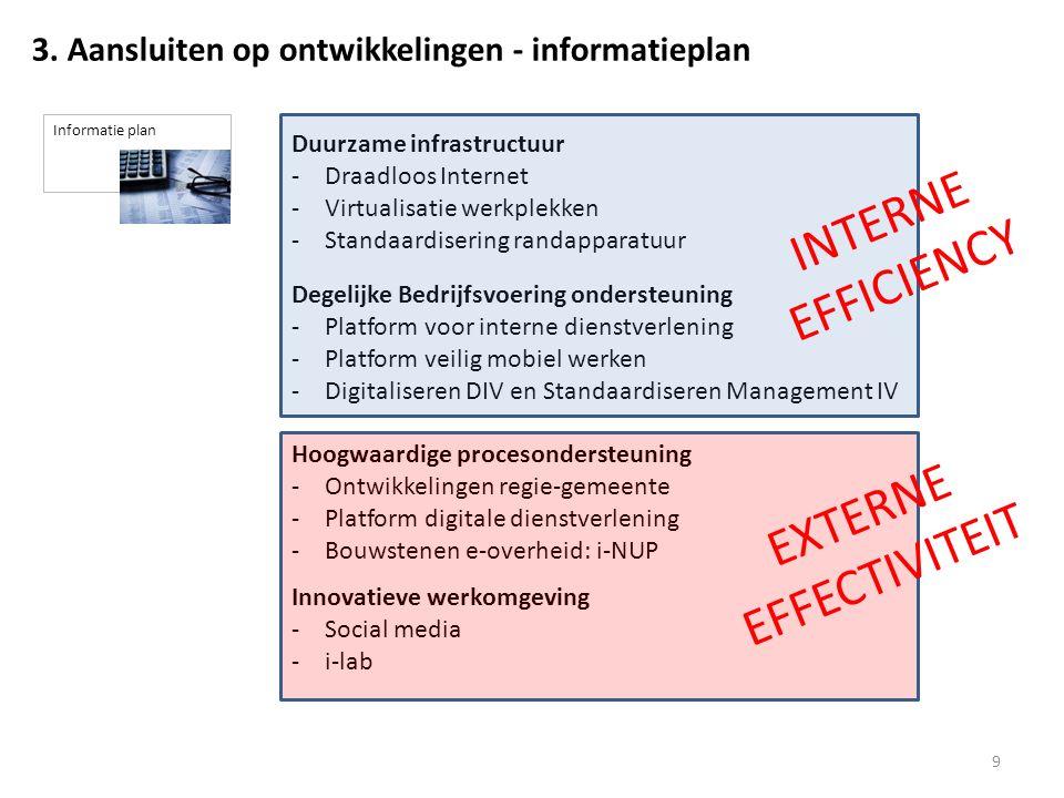 Duurzame infrastructuur -Draadloos Internet -Virtualisatie werkplekken -Standaardisering randapparatuur Degelijke Bedrijfsvoering ondersteuning -Platform voor interne dienstverlening -Platform veilig mobiel werken -Digitaliseren DIV en Standaardiseren Management IV 9 3.