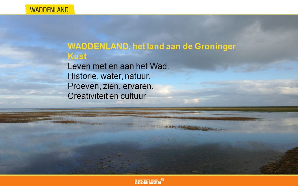 WADDENLAND, het land aan de Groninger Kust Leven met en aan het Wad. Historie, water, natuur. Proeven, zien, ervaren. Creativiteit en cultuur