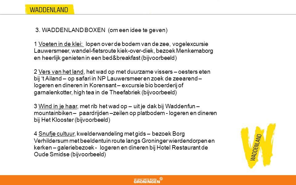 3. WADDENLAND BOXEN (om een idee te geven) 1 Voeten in de klei: lopen over de bodem van de zee, vogelexcursie Lauwersmeer, wandel-fietsroute kiek-over