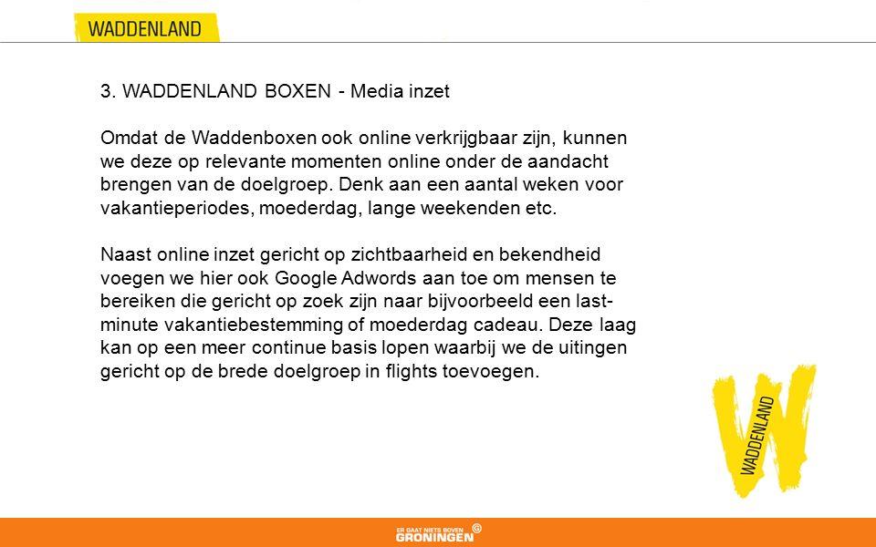 3. WADDENLAND BOXEN - Media inzet Omdat de Waddenboxen ook online verkrijgbaar zijn, kunnen we deze op relevante momenten online onder de aandacht bre