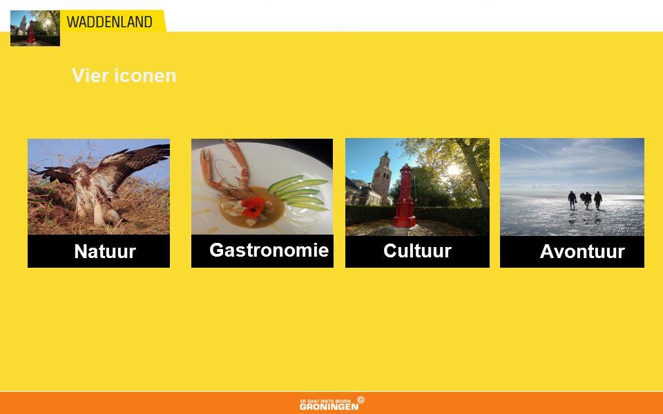 Vier iconen Natuur Gastronomie Cultuur Avontuur