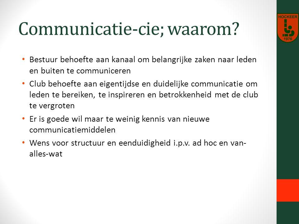 Communicatie-cie; waarom.