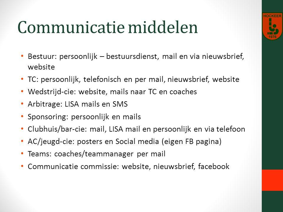 Communicatie middelen Bestuur: persoonlijk – bestuursdienst, mail en via nieuwsbrief, website TC: persoonlijk, telefonisch en per mail, nieuwsbrief, website Wedstrijd-cie: website, mails naar TC en coaches Arbitrage: LISA mails en SMS Sponsoring: persoonlijk en mails Clubhuis/bar-cie: mail, LISA mail en persoonlijk en via telefoon AC/jeugd-cie: posters en Social media (eigen FB pagina) Teams: coaches/teammanager per mail Communicatie commissie: website, nieuwsbrief, facebook