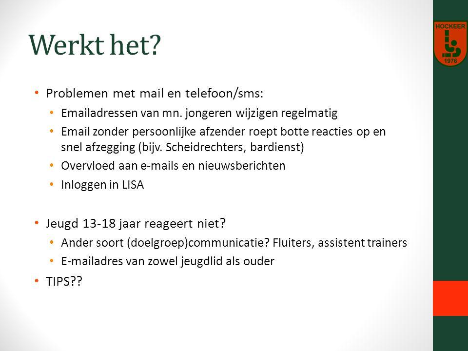 Werkt het. Problemen met mail en telefoon/sms: Emailadressen van mn.