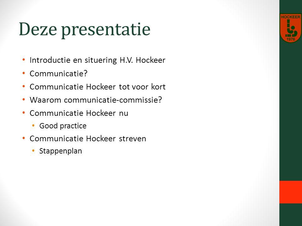 Deze presentatie Introductie en situering H.V. Hockeer Communicatie.