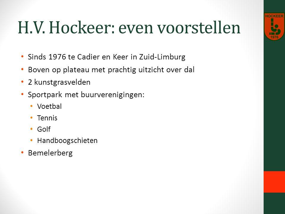 H.V. Hockeer: even voorstellen Sinds 1976 te Cadier en Keer in Zuid-Limburg Boven op plateau met prachtig uitzicht over dal 2 kunstgrasvelden Sportpar