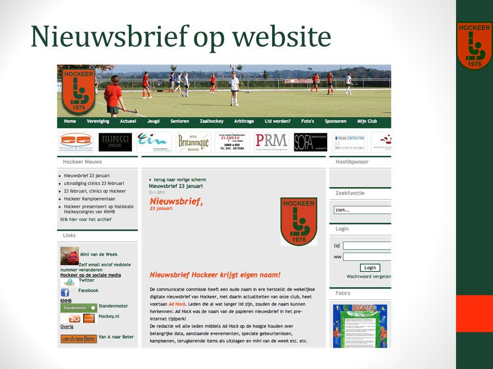 Nieuwsbrief op website