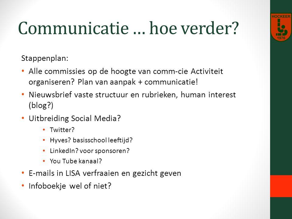 Communicatie … hoe verder.
