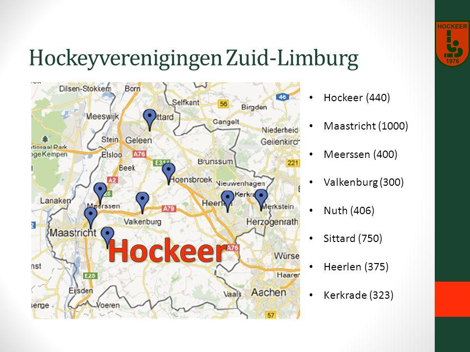 Hockeyverenigingen Zuid-Limburg Hockeer (440) Maastricht (1000) Meerssen (400) Valkenburg (300) Nuth (406) Sittard (750) Heerlen (375) Kerkrade (323)