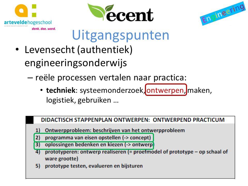 Uitgangspunten Levensecht (authentiek) engineeringsonderwijs – reële processen vertalen naar practica: techniek: systeemonderzoek, ontwerpen, maken, logistiek, gebruiken …
